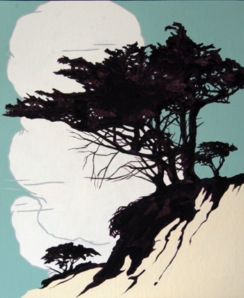 """Monterey Cypress""  16x20 casein on paper"
